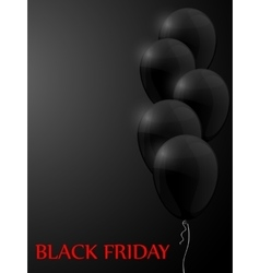 Black Friday sale poster with balloons vector