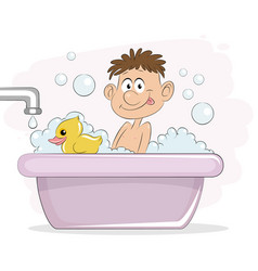 boy in bath vector image