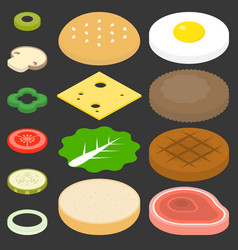 Burgers and ingredients set vector