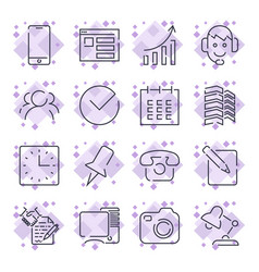 business and office icon set universal icons for vector image