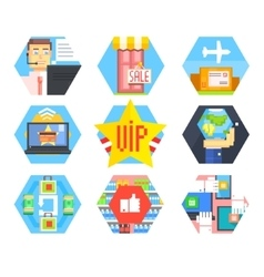 Business Office and Marketing Icons Flat vector
