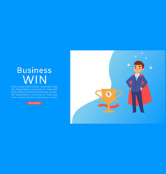 business win inscription banner prize icon gold vector image