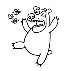 Cartoon bear was afraid of angry bees vector