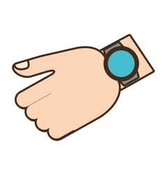 Cartoon hand with smart watch trendy wearable vector