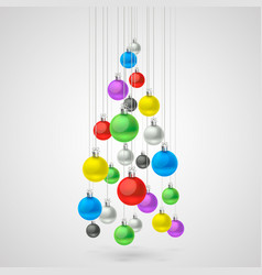 Christmas balls hanging in a tree vector