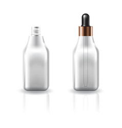 clear cosmetic square bottle with dropper lid vector image