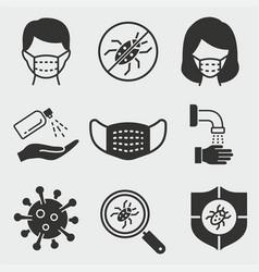 coronavirus icon set isolated vector image