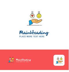 creative emoji in hands logo design flat color vector image