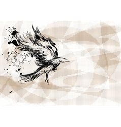 Crow on abstract background vector