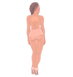 Curvy girl in beige underwear isolated on white vector