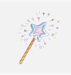 cute cartoon sticker magic wand cartoon girl vector image