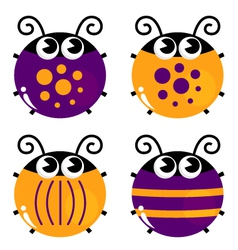 Cute colorful beetle collection isolated on white vector image