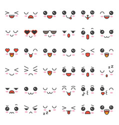 Cute emotion face in various expession editable vector