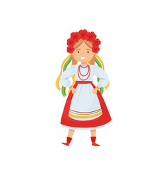 cute girl in ukrainian traditional clothes vector image