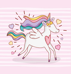 Cute unicorn running with hearts and hairstyle vector