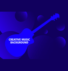 Dark blue musical background with guitar vector