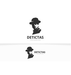 detective logo combination unique private vector image