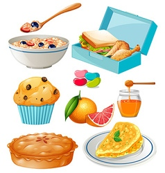 Different kind of food and dessert vector image
