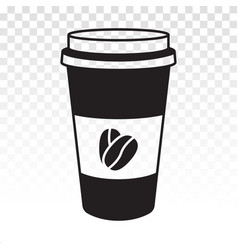 Disposable paper cup with coffee bean flat icon vector