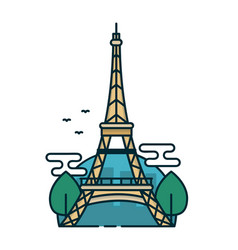 Eiffel tower in paris trees modern vector