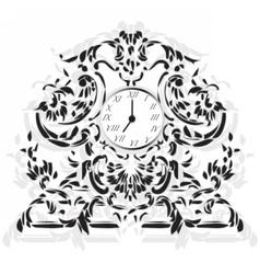Elegant Clock with Baroque ornaments vector