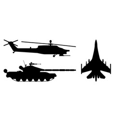 Fighter aircraft tank helicopter silhouette vector