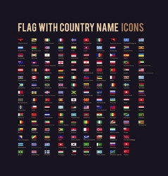 flag with country name flat icon vector image