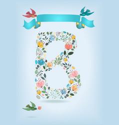 floral letter b with blue ribbon and three doves vector image