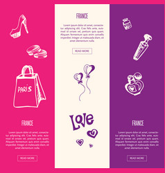 France touristic horizontal web banners vector