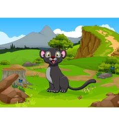 funny black panther cartoon in the jungle vector image