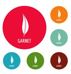 garnet leaf icons circle set vector image