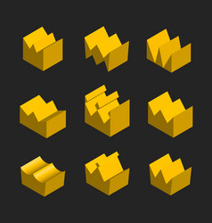golden crowns in isometric on black isolated vector image