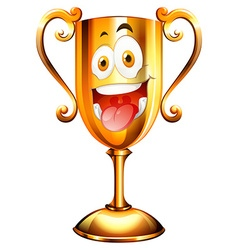 Golden trophy with face vector