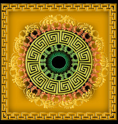Greek ornamental 3d mandala pattern bright vector