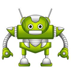 Green robot cartoon with antennas vector