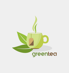 Green tea organic drink logo vector
