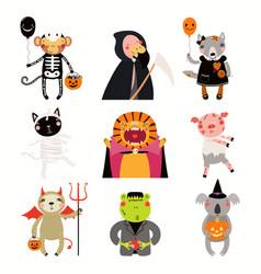 Halloween with cute animals vector