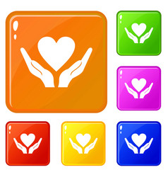 hands holding heart icons set color vector image