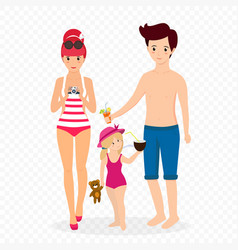 happy family at beach mother father with child vector image