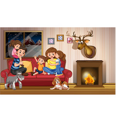 Happy family at home vector