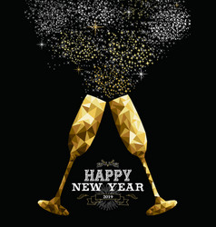 Happy new year 2019 toast glass low polygon gold vector