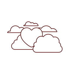 heart with cloud isolated icon vector image
