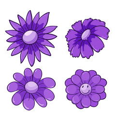 Isolated set flowers in purple vector