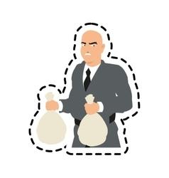 Isolated thief cartoon with money bag design vector