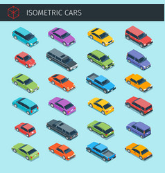 isometric cars big collection vector image