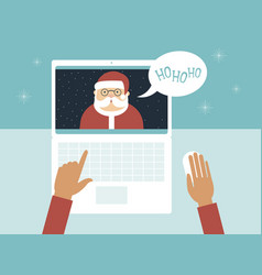 Kid communicating with santa claus on laptop vector