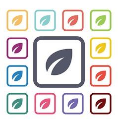 leaf flat icons set vector image
