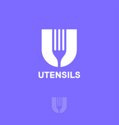 letter u and fork food monogram vector image