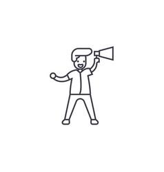loudspeaker announcement line icon sign vector image