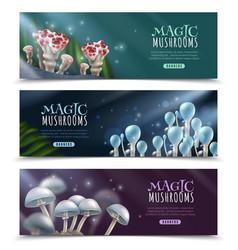 magic mushrooms horizontal banners set vector image